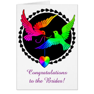 The Whole of the Rainbow Love Doves Lesbian Brides Card