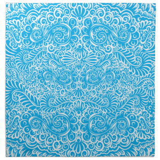 The wild turquoise floral vines napkin