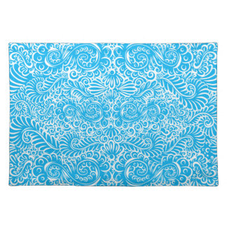 The wild turquoise floral vines placemat
