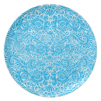 The wild turquoise floral vines plate