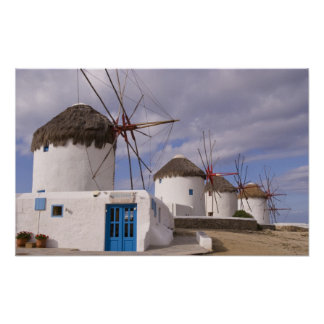 The windmills of Mykonos on the Greek Islands Poster