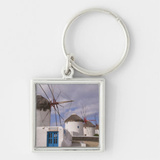 The windmills of Mykonos on the Greek Islands Silver-Colored Square Keychain