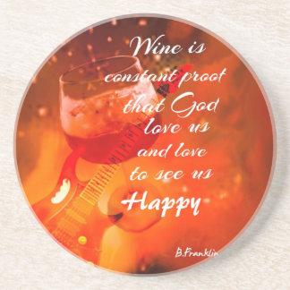 The wine makes us happy coaster