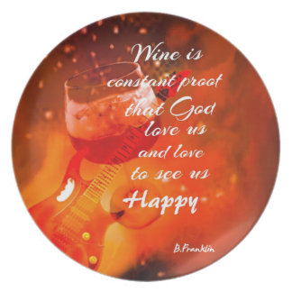 The wine makes us happy plate