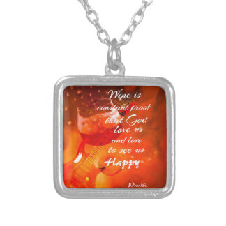 The wine makes us happy silver plated necklace