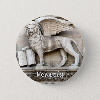 The Winged Lion of Saint Mark Statue 2 Inch Round Button