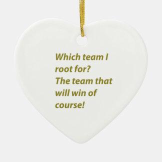 The winning supporter ceramic heart ornament