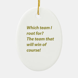The winning supporter ceramic oval ornament