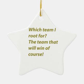 The winning supporter ceramic star ornament