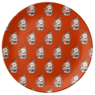 The Winter: Squirrel's Holiday Pattern on Red Porcelain Plates