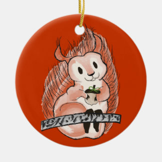 The Winter: Squirrel's Holiday Pattern on Red Round Ceramic Ornament