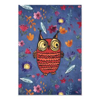 The wise bird owl in flower garden card