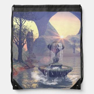 The wishing fountain drawstring bag