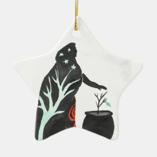 The Witch And Her Cauldron Ceramic Star Ornament