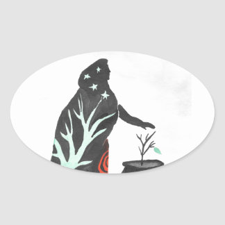 The Witch And Her Cauldron Oval Sticker