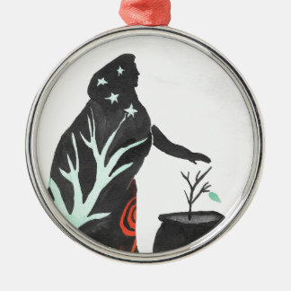 The Witch And Her Cauldron Silver-Colored Round Ornament