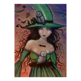 The Witch and th Owls Halloween Poster