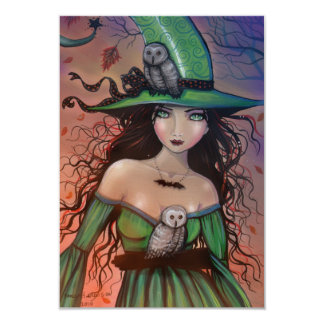 The Witch and the Owls Halloween Postcard Small