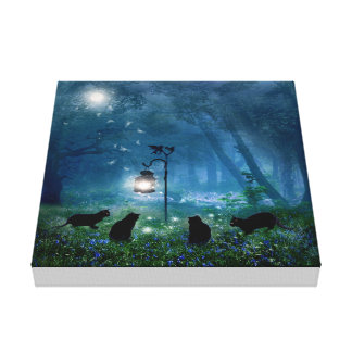The Witches Cats Wall Canvas