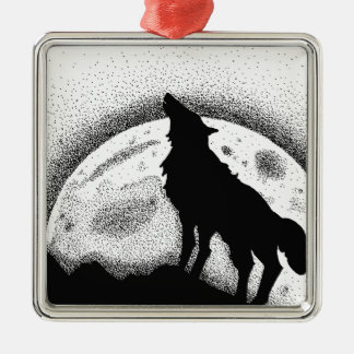 The wolf and the full moon Silver-Colored square ornament