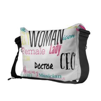 THE WOMAN MESSENGER BAG  (L/pink trim/multi)