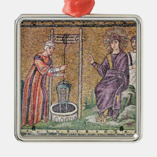 The Woman of Samaria at the Well Silver-Colored Square Ornament