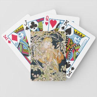 The woman who has miyushiya and hinagiku bicycle playing cards