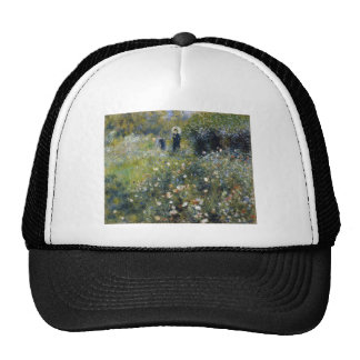 The woman who has the parasol with the garden trucker hat