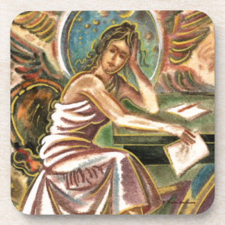 The Woman Writer Thinking Watercolor Painting Drink Coaster