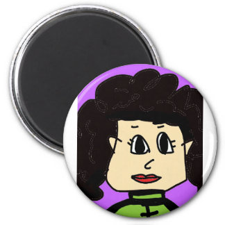 the women with black hair 2 inch round magnet