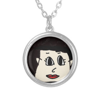 the women with black hair silver plated necklace