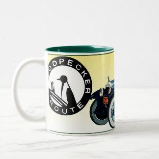 The Woodpecker Route Auto Trail Two-Tone Coffee Mug