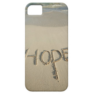 The word 'Hope' sand written on the beach with iPhone 5 Covers
