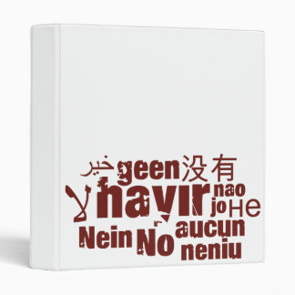 "The word ""No"" in different languages... 3 Ring Binders"