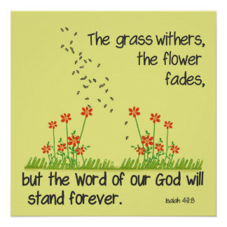The Word of Our God will Stand Forever Isaiah 40:8 Poster