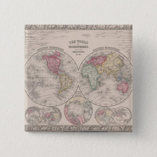 The world 1860 - Eastern & Western hemispheres 2 Inch Square Button