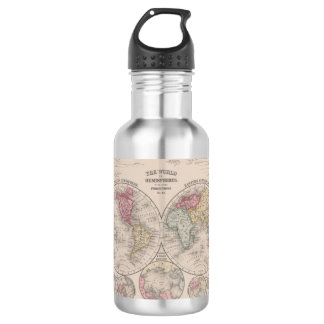The world 1860 - Eastern & Western hemispheres 532 Ml Water Bottle