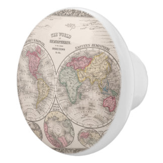 The world 1860 - Eastern & Western hemispheres Ceramic Knob