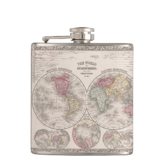 The world 1860 - Eastern & Western hemispheres Flasks