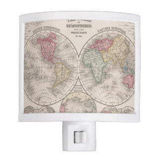 The world 1860 - Eastern & Western hemispheres Nite Lite