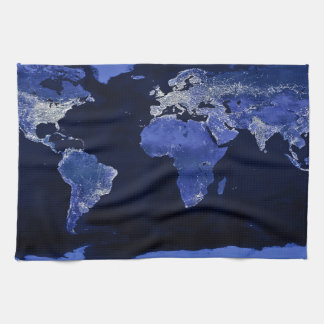 The World at Night - Map, Space Kitchen Towel