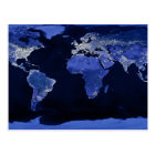 The World at Night - Map, Space Postcard