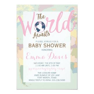 The World Awaits Baby Shower Invitation, Girl Card