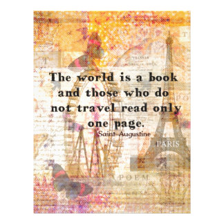 The world is a book and those who do not travel letterhead