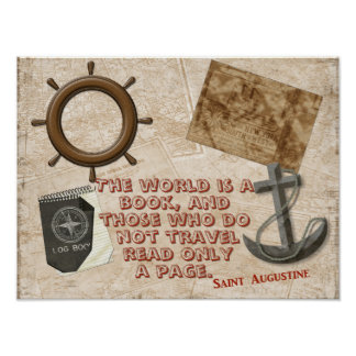 The World is a Book - Quote Saint Augustine print