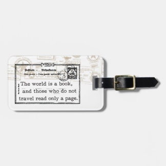 """""""The World is a Book"""" Vintage Travel Luggage Tag"""