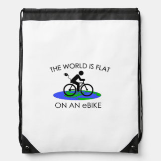 """The world is flat"" drawstring bags"