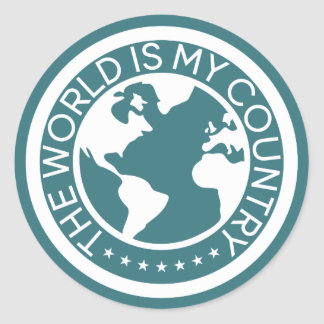 The World is My Country Sticker. Classic Round Sticker