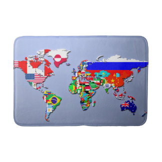 The World Map With Their Flags Bath Mat