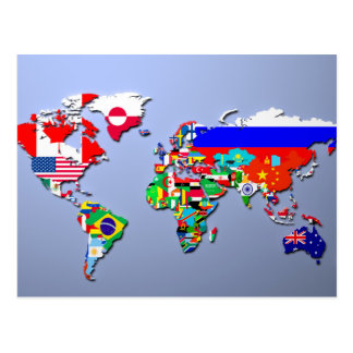 The World Map With Their Flags Postcard